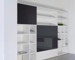 Nuvola-dallagnese tv-kast met schuifdeuren lak wit zijdeglans