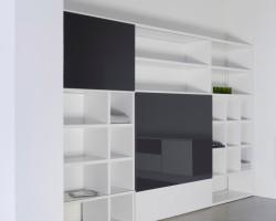Nube tv-kast met schuifdeuren lak wit zijdeglans