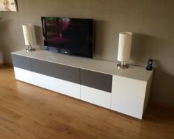 Nube tv-audiomeubel soundsysteem met speakerdoek kleppen
