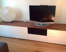 Nuvola tv-audiomeubel wit met houten bovenblad